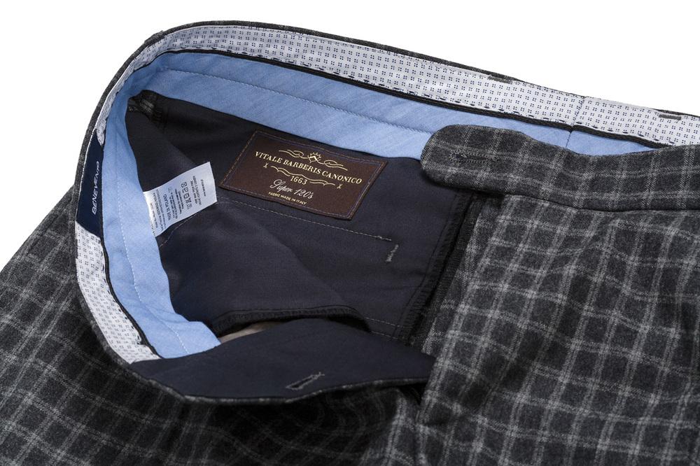 szare spodnie flanelowe w kratę